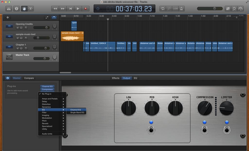 Master Track EQ settings for Garageband Audiobook
