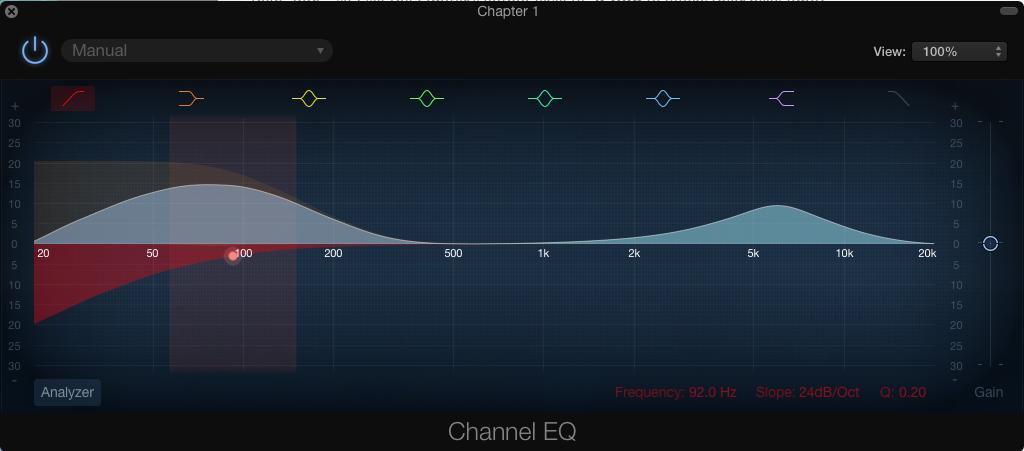 Garageband EQ settings for Audiobook Master Track