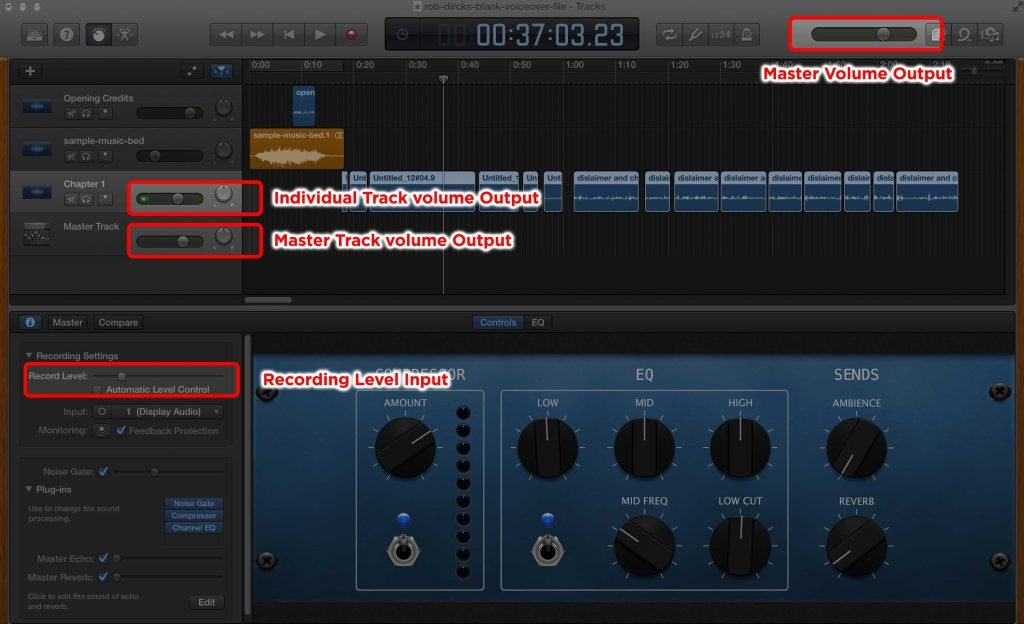 Garageband Volume Controls for Audiobook