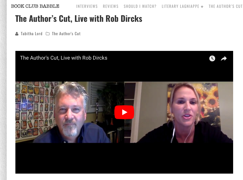 Rob Dircks on Author's Cut Live with Tabitha Lord