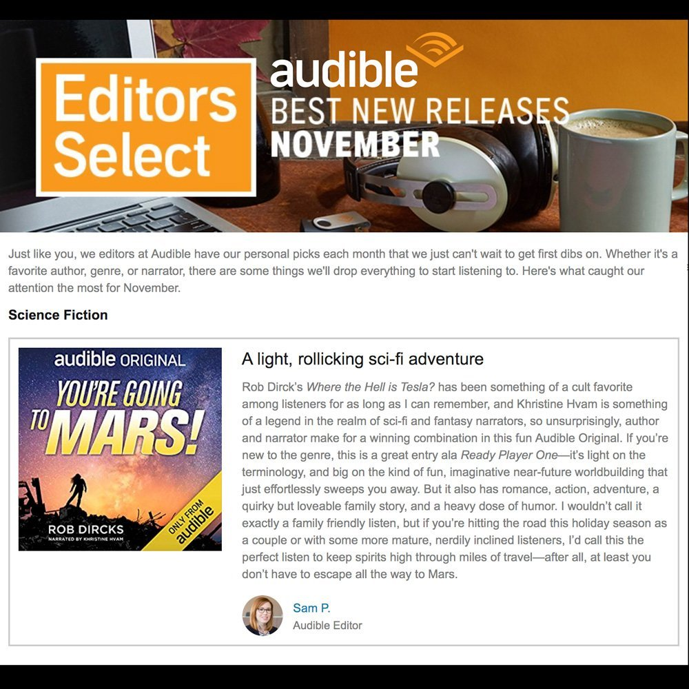 You're Going to Mars! makes the Audible Editors Select: Best New Releases for November